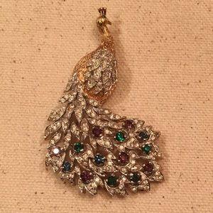 Vintage Panetta Peacock Rhinestone Brooch Pin